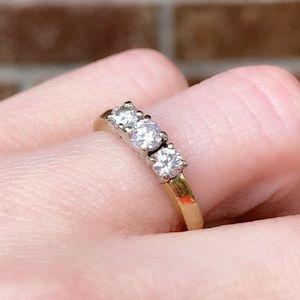 Shimmery 14K 0.50 ctw 3-Stone Diamond Ring